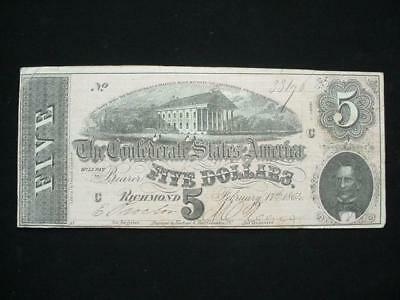 NobleSpirit NO RESERVE Desirable Confederate Currency $5 1864 Choice VF/XF CU