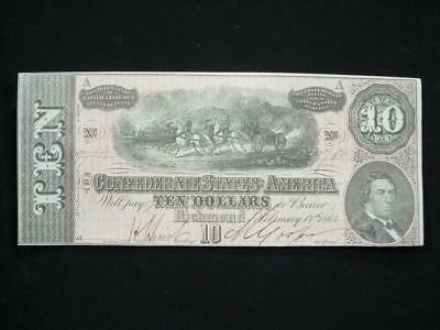 NobleSpirit NO RESERVE Desirable Confederate Currency $10 1864 Choice CU