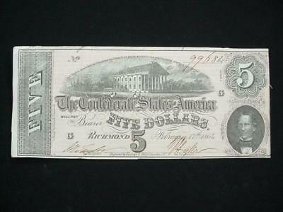 NobleSpirit NO RESERVE Desirable Confederate Currency $5 1864 Choice CU