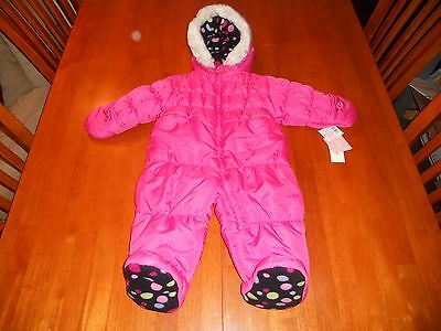 NEW with tags London Fog girls snow suit size 3 - 6 months pink winter hood