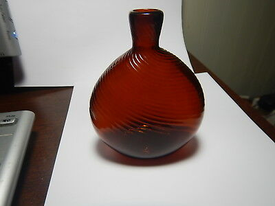 Antique Midwestern Flask Rib Swirl amber Bottle w/ Pontil, Zanesville, c.1820