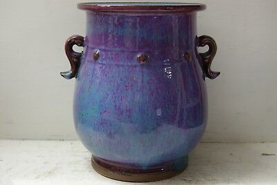Very Beautiful Large Chinese Vase With Sang De Boeuf & Flambe Glaze - Very Rare