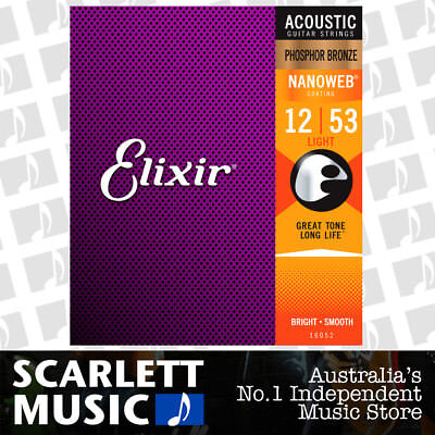 Elixir 16052 Nanoweb Phosphor Bronze Light 12-53 Acoustic Guitar Strings