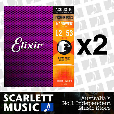 2x Elixir 16052 Nanoweb Phosphor Bronze Light 12-53 Acoustic Guitar Strings