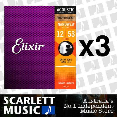 3x Elixir 16052 Nanoweb Phosphor Bronze Light 12-53 Acoustic Guitar Strings