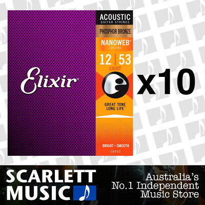 10x Elixir 16052 Nanoweb Phosphor Bronze Light 12-53 Acoustic Guitar Strings