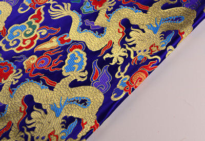 "28"" Oriental Silk Damask Brocade Royal Dragon Robe Fabric : Golden Dragons"
