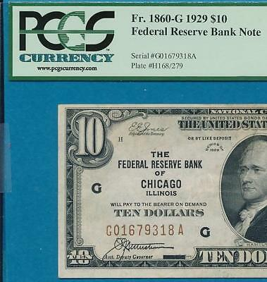 $10. 1929 Chicago Brown Seal Federal Reserve Bank Note  Attractive Pcgs Au53