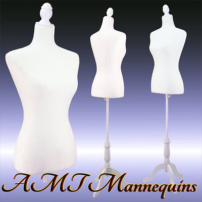 Vintage-style female mannequin white toros+ white tripod stand+ dress form-L02