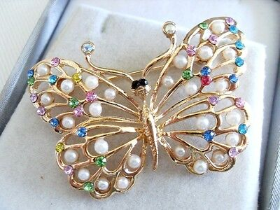 BUTTERFLY BROOCH Seed Pearl rhinestone gift Art Nouveau insect present Easter