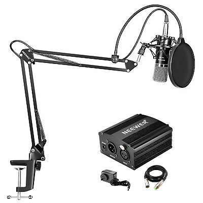Neewer NW-700 Microphone Kit with 48V Phantom Power Supply,NW-35 Stand(Black)