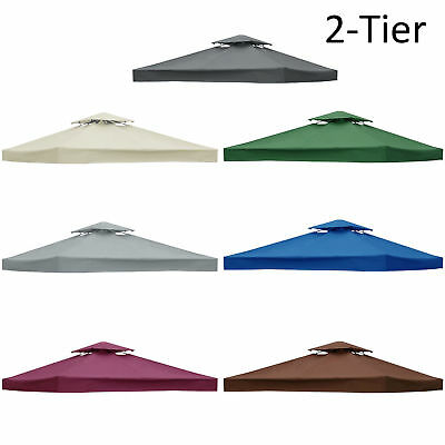 3x3M 2-Tier Garden Gazebo Top Cover Roof Replacement Fabric Tent Canopy