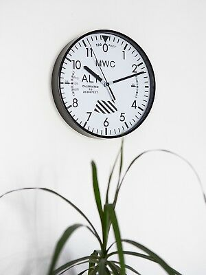 """Latest MWC Ltd Edition Altimeter Wall Clock 9""""/22.5cm with Silent Sweep Movement"""