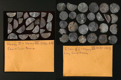 48 ENGLISH HAMMERED SILVER PIECES (1154-1509AD) HENRY II to HENRY VII >>> NO RSV