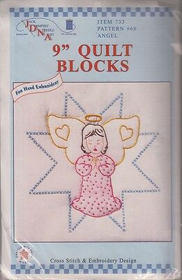 """1 Jack Dempsey """"Angel"""" Stamped Xstitch & Embroidery Quilt Blocks"""