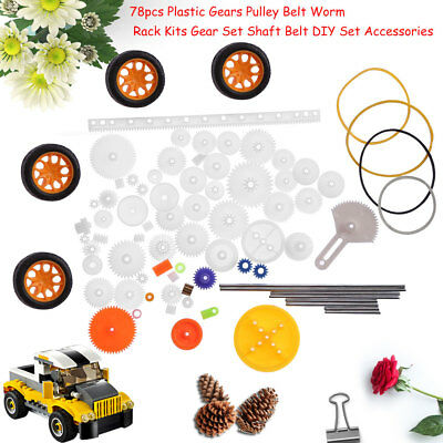 78pc Plastic Gear Wheel Pulley Rack Shaft Belt SET Kids Gift Toy Accessory DIY e