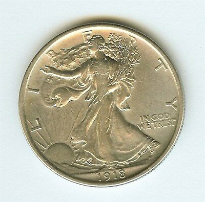 1918 Walking Liberty Silver 50 Cents  Nearly Uncirculated