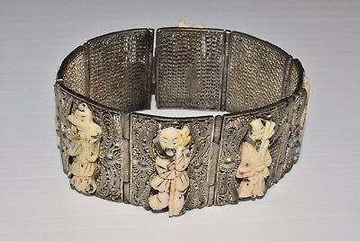 Antique Chinese Silver Plated Filigree Carved Bovine Bone 8 Immortals Bracelet