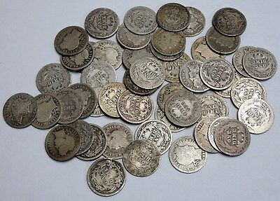 Lot of 50 Circulated Worn Barber Silver Dimes
