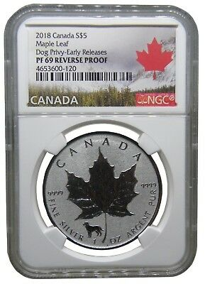 2018 Canada Reverse Proof Dog Privy Mark NGC PF 69 Early Release b238.b
