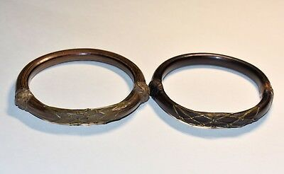 2 Antique Chinese Silver & Copper Bamboo Rattan Bangle Bracelet