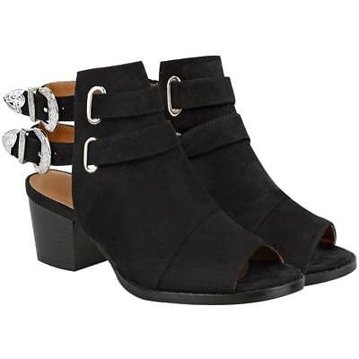 Womens Ladies Black Low Block Heel Shoes Open Toe Strappy Buckle Sandals Size