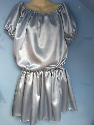 satin dress adult baby fetish sissy french maid cosplay fits 18,20,22 cd tv