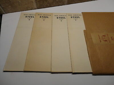 Vintage 1942 Lot of 4 WWII OUR AMERICA Posters Teacher's Kit STEEL by COCA-COLA