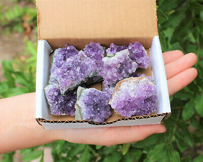 Wholesale Bulk Natural Amethyst Cluster Druzy Collection Box: 7 - 9 oz Geode