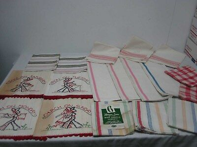 21 VINTAGE LINEN & COTTON KITCHEN DISH TOWELS with STRIPES ~ GREAT LOT!