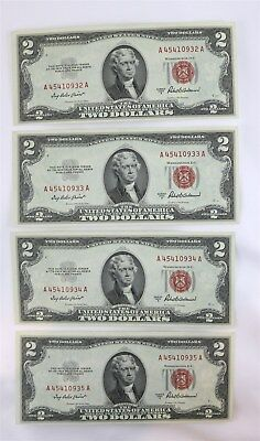 Lot of Four (4) US $2 Two Dollar Notes Consecutive #'s Series 1953A