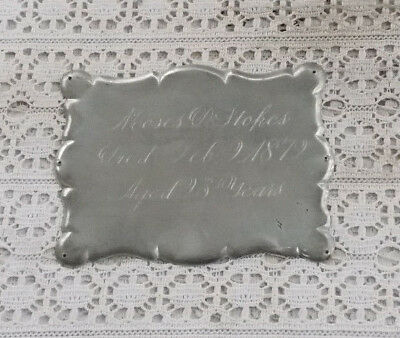 """RARE Vintage 4.75"""" Antique Victorian 1879 Silverplate Coffin Funeral Plaque Tag"""