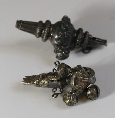 2 Antique 19thC Coin Silver Baby Whistle Rattles