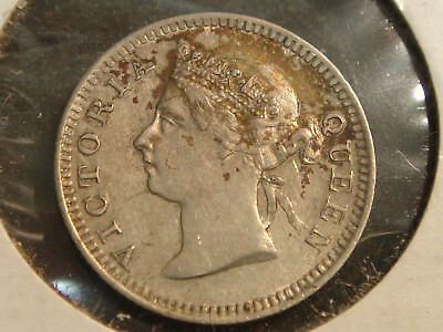 1900 Straits Settlements Malaysia 5 Five Cents Queen Victoria AU