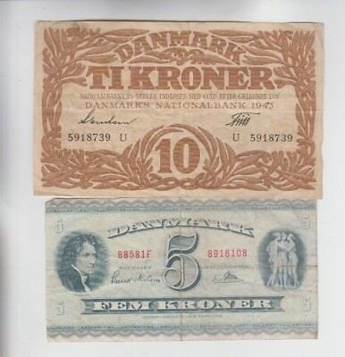 Denmark Paper Money 2 old notes lower grade and up