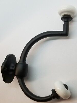 Flat Black Cast Double Front Mount Coat Hook Porcelain Knobs old classic antique