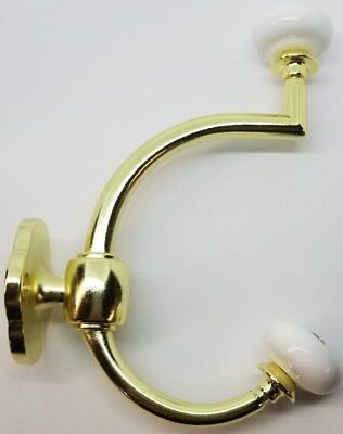 Bright Brass Double Front Mount Coat Hook Porcelain Knobs old classic rack hat