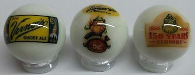 "Set of 3 Vernor's Ginger Ale Collectible Glass 1"" Logo Marbles"