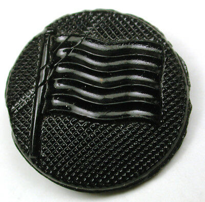 Antique Black Glass Button Flying flag Design - 3/4""