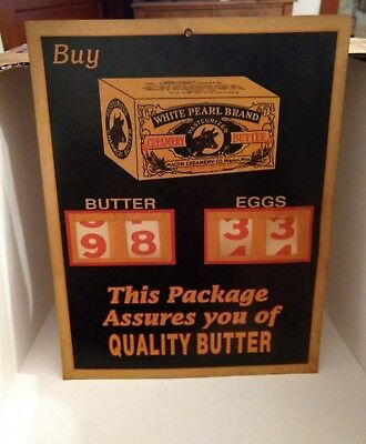 Antigue Paper Price Display Sign White Pearl Brand Butter Macon Creamery MISS
