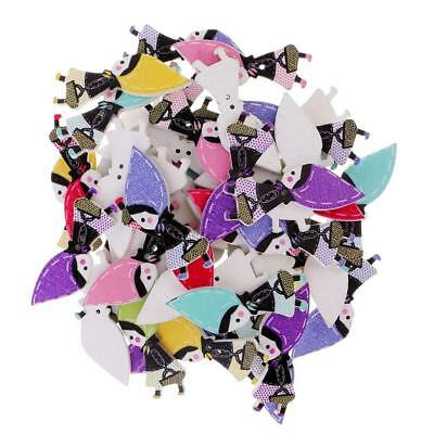 50Pcs Cartoon Character Shape Wooden Buttons 2 Holes for Sewing DIY Crafts