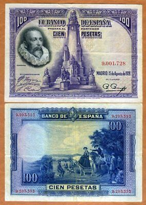 Spain, 100 Pesetas, 1928, P-76, VF > Cervantes, Don Quijote