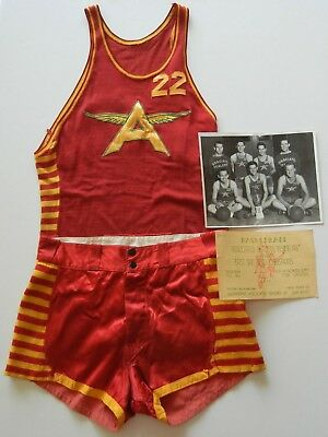 Vtg 1930s Flying A Gas BASKETBALL UNIFORM Knit Jersey SATIN SHORTS San Diego #22
