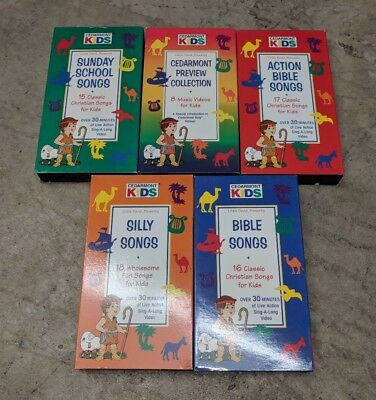 CEDARMONT KIDS SUNDAY School Songs VHS 15 Christian SING ALONG LOT OF 5  MOVIES