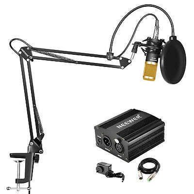 Neewer NW-800 Mic Kit with 48V Phantom Power, NW-35 Arm Stand (Black and Gold)
