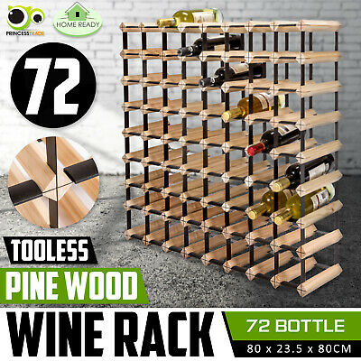 72 Bottle Timber Wine Rack Wooden Storage System Cellar Organiser Stand Display