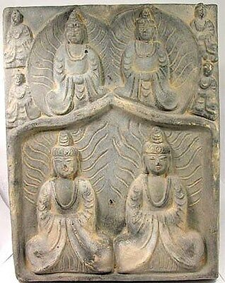 Medieval China Buddhist Temple Shrine Bodhisattva Tile Sintered Clay HUGE AD999
