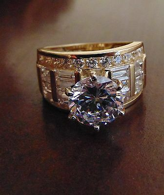 Solid 14k Yellow Gold Solitaire 4.0 ct Man Made Diamond Engagement Wedding Ring