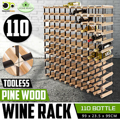 110 Bottle Timber Wine Rack Wooden Storage System Cellar Organiser Stand Display