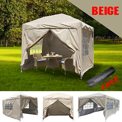 Garden Pop Up Gazebo Marquee Party Tent Wedding Canopy With Silver Layer 5 Sizes